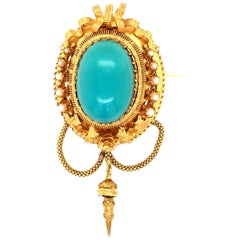 Fabulous Victorian Turquoise and Natural Pearl Brooch