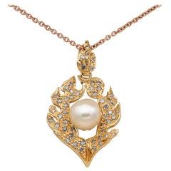 Fabulous Vintage .80 Carat Orange Brown Diamond Flamed Pearl Pendant Chain