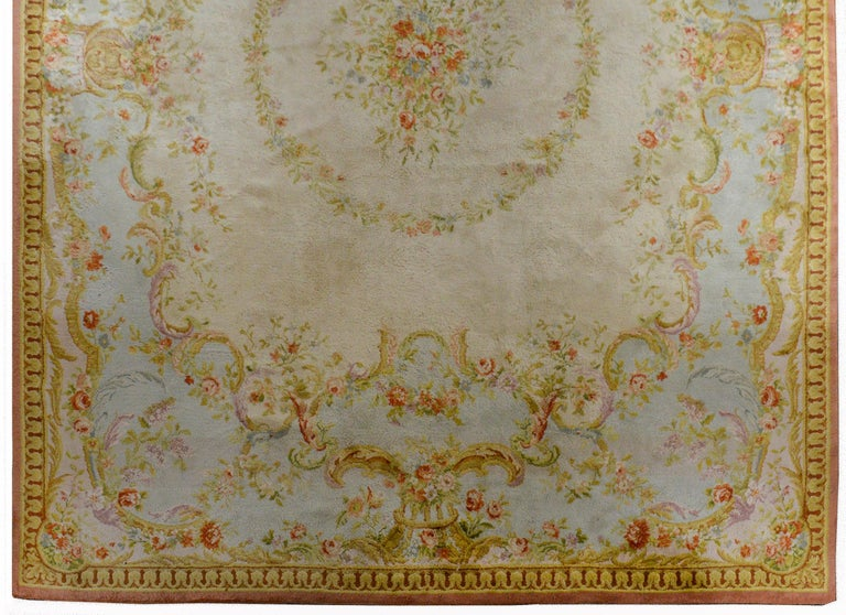Aubusson Fabulous Vintage French Savonnerie Rug For Sale