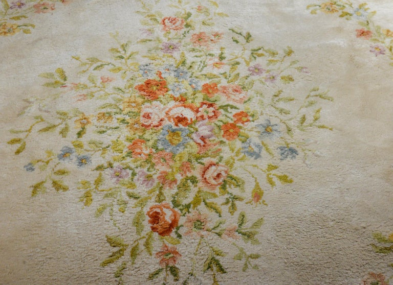Fabulous Vintage French Savonnerie Rug In Good Condition For Sale In Chicago, IL