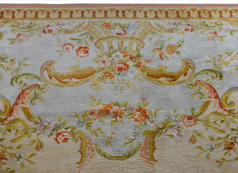 20th Century Fabulous Vintage French Savonnerie Rug For Sale
