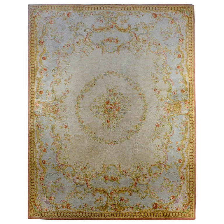 Fabulous Vintage French Savonnerie Rug For Sale