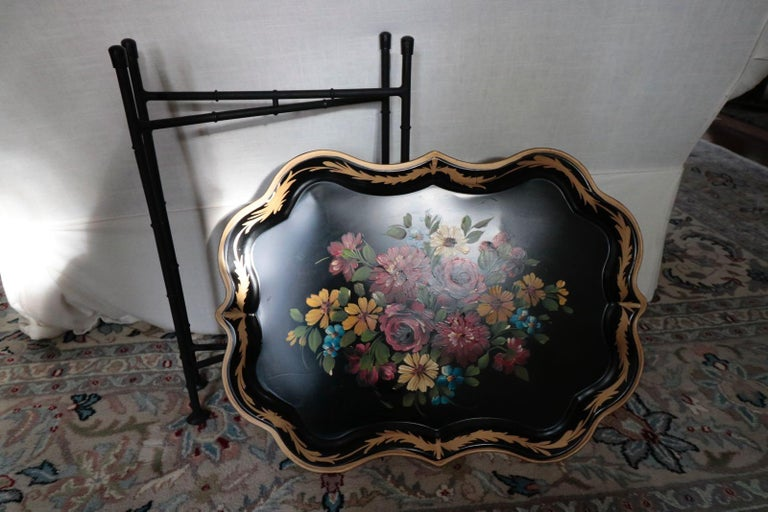 Fabulous vintage 1940s hand painted Dahlia's, roses, daisies, bluebells tin tray table. Black painted background subtle gilt border. Perfect size for cocktails or tea.
