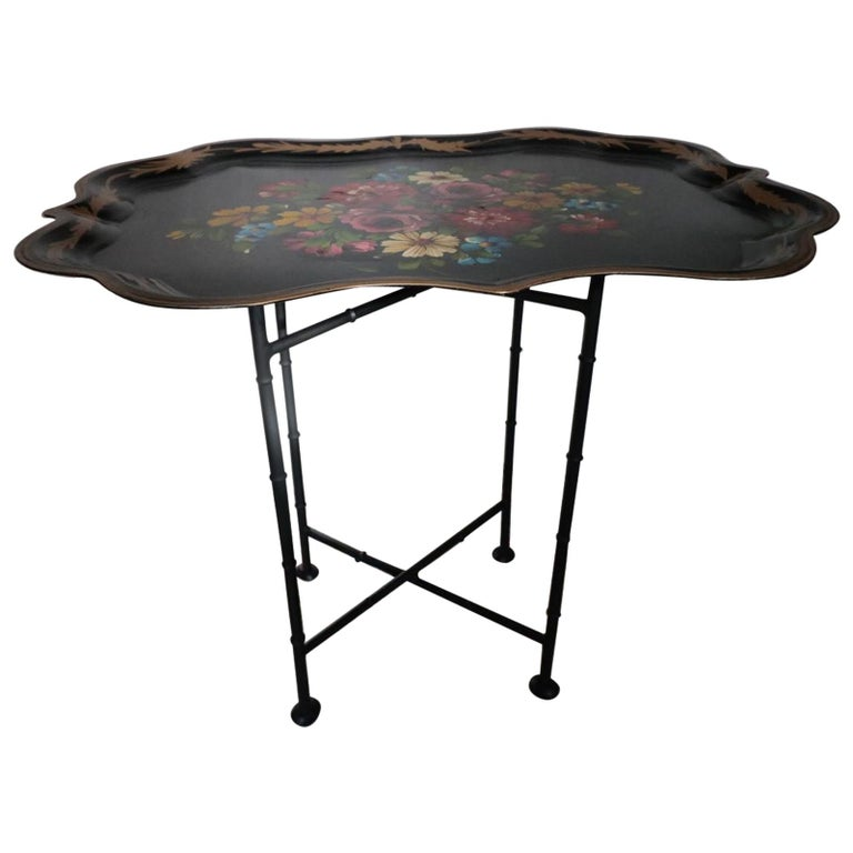 Fabulous Vintage Hand Painted Dahlia's, Roses, Daisies, Bluebells Tin Tray Table For Sale