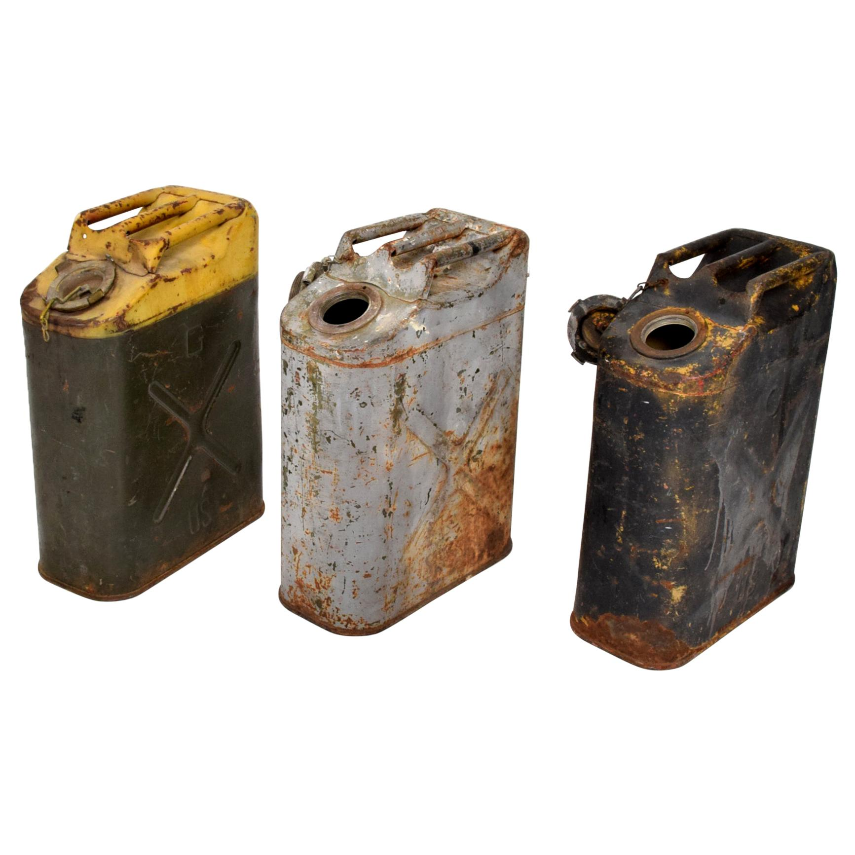 Fabulous Vintage Industrial Collectible US Military WWII Fuel Gas Tanks Set of 3
