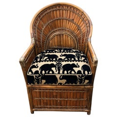 Fabulous Vintage Rattan Armchair with custom Elephant Cushion