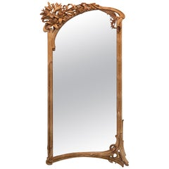 Fabulous Wall Mirror Frame in Art Nouveau style with lilies