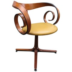 "Fabulous Walnut ""Scroll"" Swivel Armchair by George Mulhauser Plycraft"