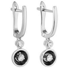 Fabulous White Gold Diamond Dangle Lever-Back Earrings for Her