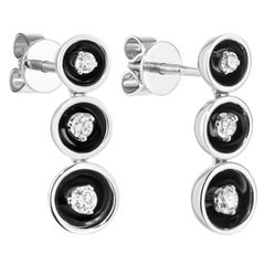 Fabulous White Gold Diamond Dangle Stud Earrings for Her with Black Enamel