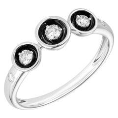 Fabulous White Gold Diamond Ring for Her with Black Enamel
