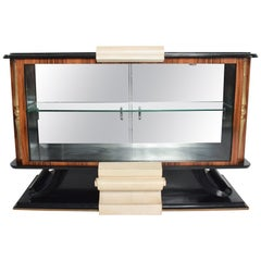 Fabulously Bold French Art Deco Credenza Display Cabinet by Roberto & Mito Block