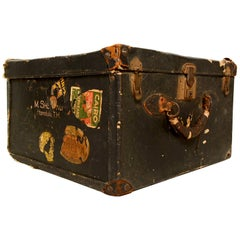 Fabulously Distressed Travel Trunk with Original Brass Lock & Key Honolulu T.H.