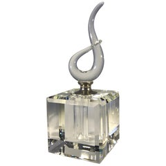 Fabulously Entwined French Crystal, Faceted Cube Perfume Bottle, circa 1970s