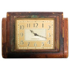 EVERBRITE Desk Clock Fabulously Smart Distressed Leather Modern 1950s