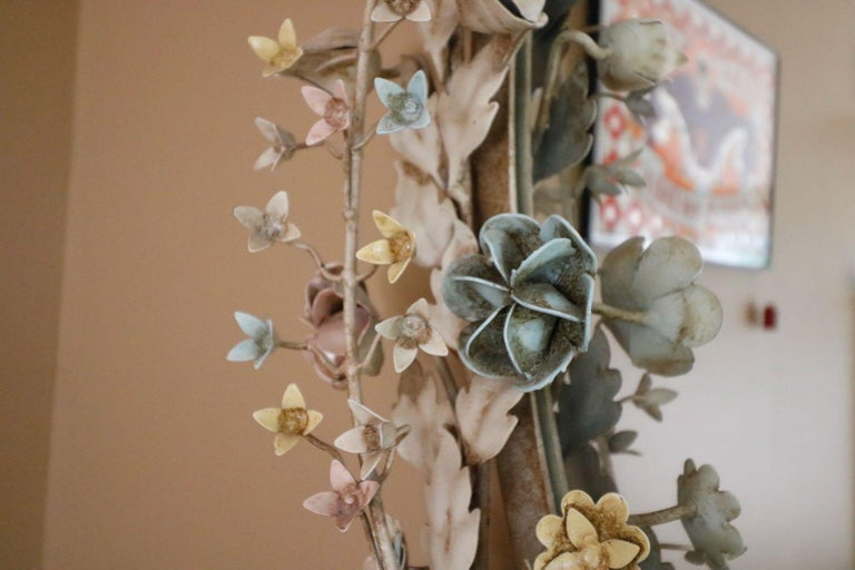 French Provincial Fabulously Vintage French Shabby Chic Flower Mirror Pastel Flowers Adorn For Sale