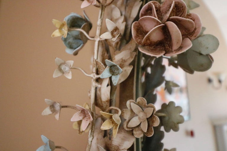 Early 20th Century Fabulously Vintage French Shabby Chic Flower Mirror Pastel Flowers Adorn For Sale