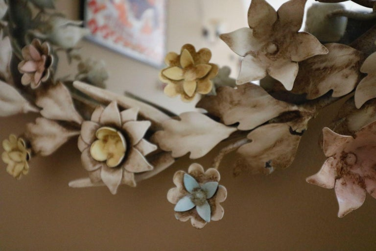 Iron Fabulously Vintage French Shabby Chic Flower Mirror Pastel Flowers Adorn For Sale