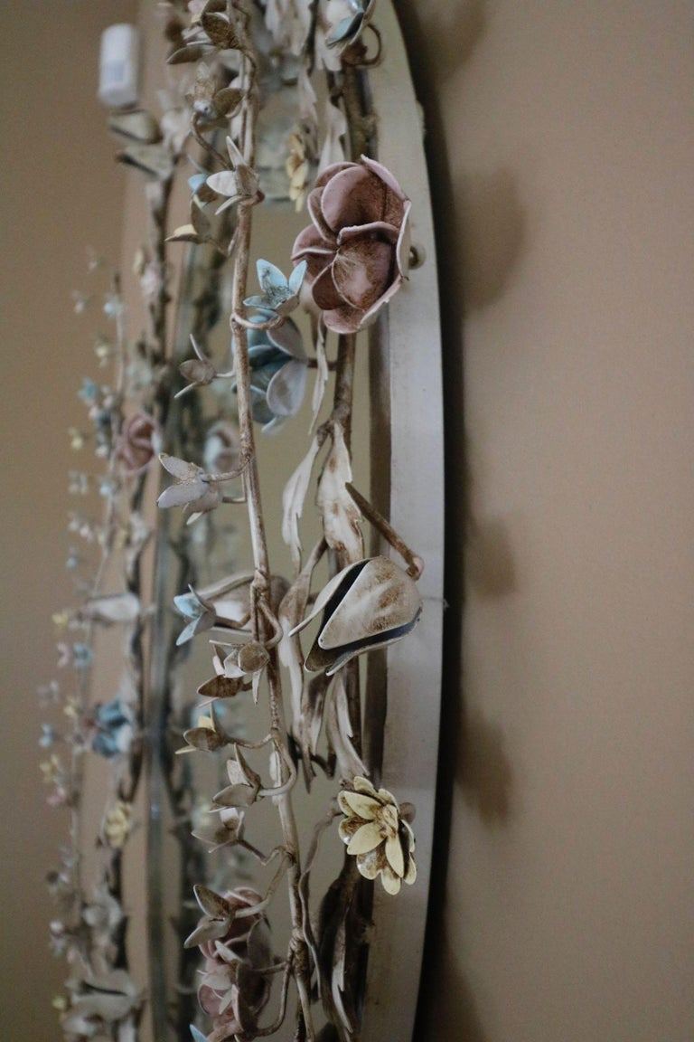 Fabulously Vintage French Shabby Chic Flower Mirror Pastel Flowers Adorn For Sale 1