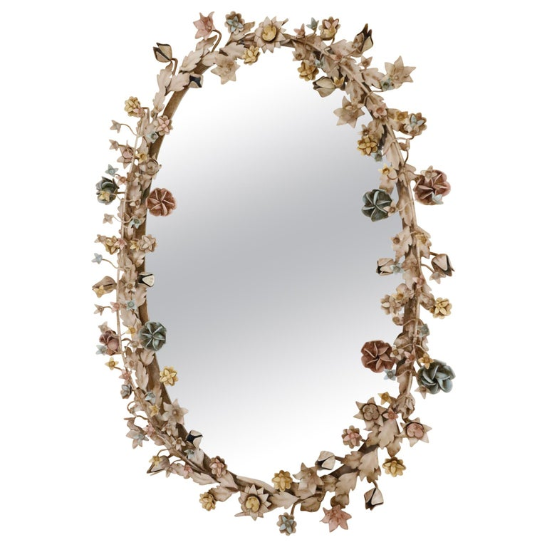 Fabulously Vintage French Shabby Chic Flower Mirror Pastel Flowers Adorn For Sale