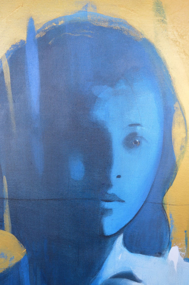 Cuban Face in Blue by Jorge Santos For Sale