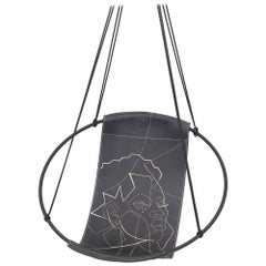 Face of Africa Sling Hanging Swing Chair Genuine Leather 21st Century Modern