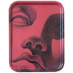 Face Wood Big Serving Tray Red