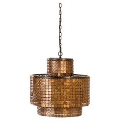 Facet Chandelier Crafted of Hand-Hammered Brass