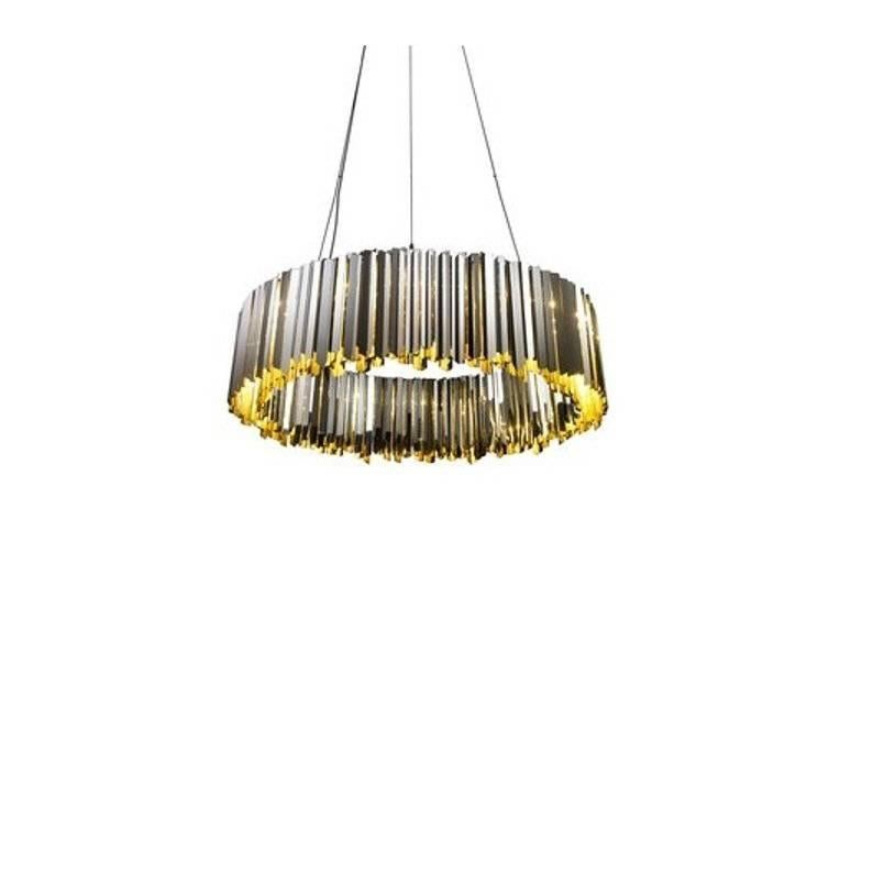 Facet Circular LED Chandelier, Polished Stainless Steel For Sale at ...