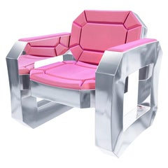 Facet Contemporary Lounge Chair Pink with Silver