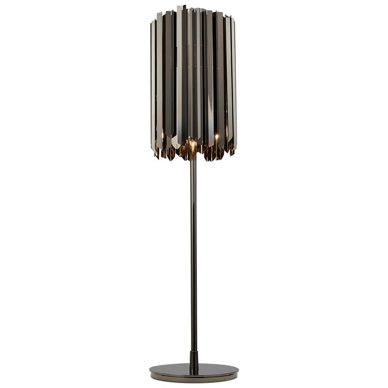 Facet Dimmable Table Lamp by Tom Kirk Finished in Polished Black Nickel For Sale