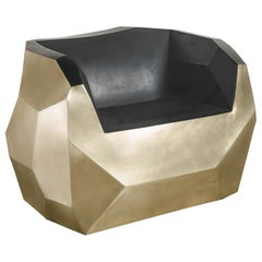 Facet Lounge Chair, Brass and Black Lacquer by Robert Kuo, Limited Edition