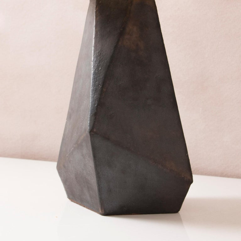 American Facet Matte Bronze-Glazed Small Ceramic Table Lamp For Sale