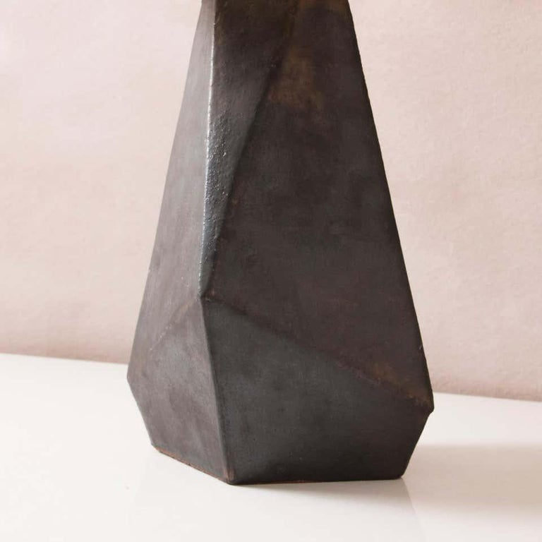 American 'Facet' Matte Bronze-Glazed Small Ceramic Table Lamp For Sale