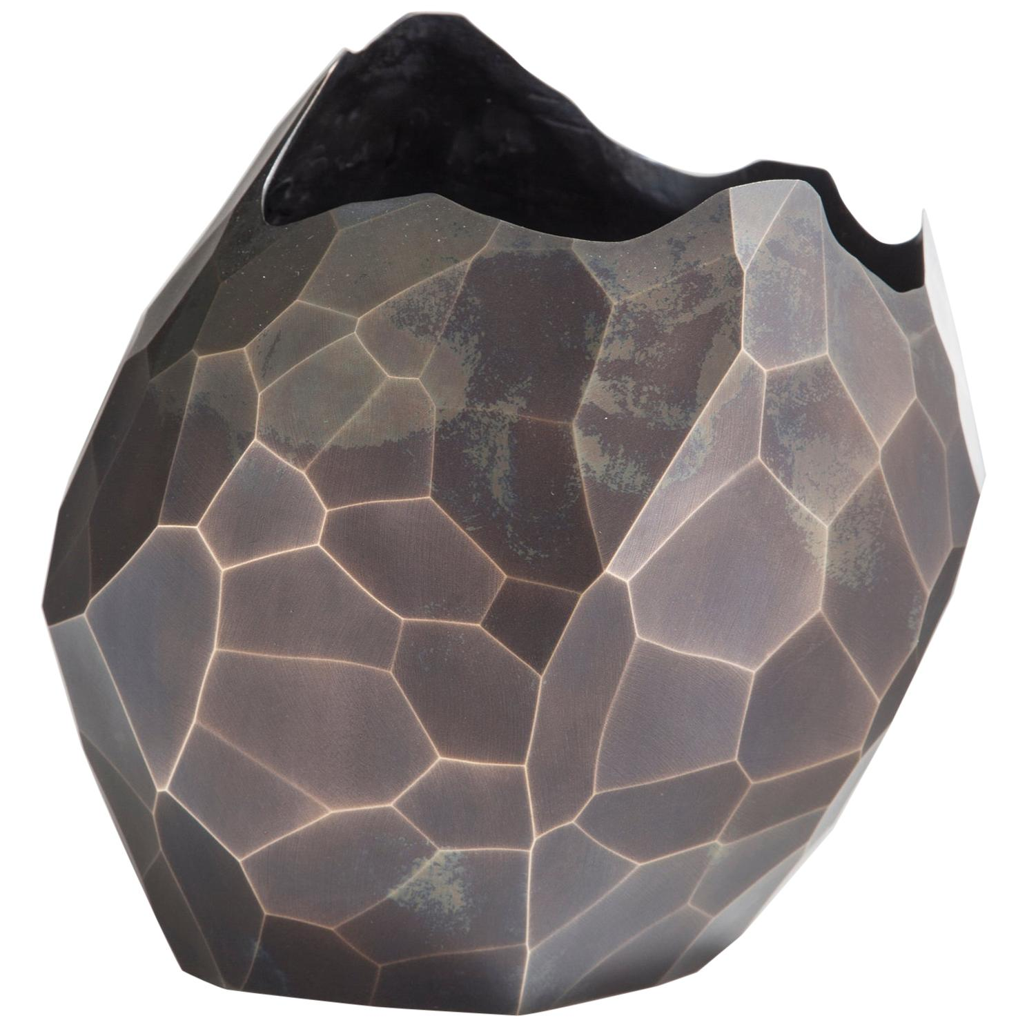 Facet Small Vase in Bronze with Dark Patina by David Wiseman, 2014