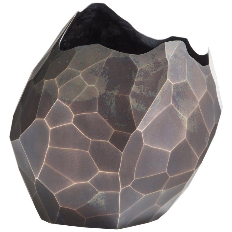 Facet Small Vase in Bronze with Dark Patina by David Wiseman, 2014 For Sale