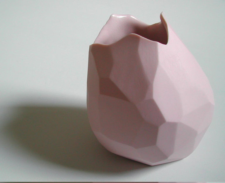 Unique facet vase in pink porcelain. Designed and made by David Wiseman, USA, 2010.