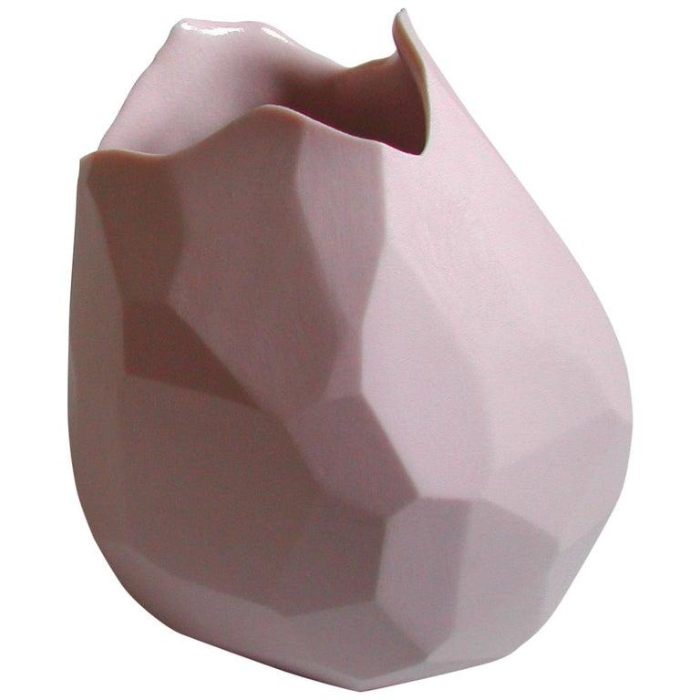 Facet Vase in Pink Porcelain by David Wiseman, 2010 For Sale