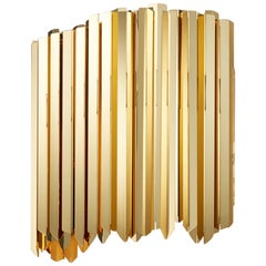 Facet Wall Light by Tom Kirk in Polished Gold