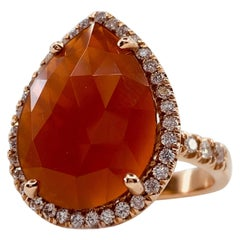 Faceted 4.0 Carat Carnelian Slice Pear-Shaped Diamond Halo Ring in Rose Gold