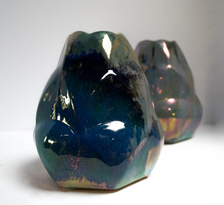 Ceramic Faceted Alphonse Cytere Vase For Sale