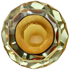 Faceted Amber Colored Murano Sommerso Cut Glass Bowl Attributed to Mandruzzato