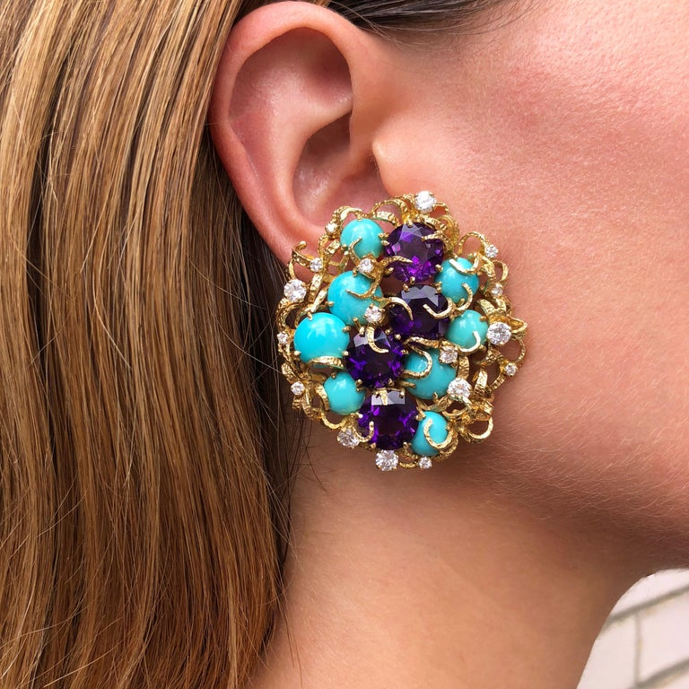 Modernist Faceted Amethyst, Cabochon Turquoise, Diamond and Gold Earrings For Sale