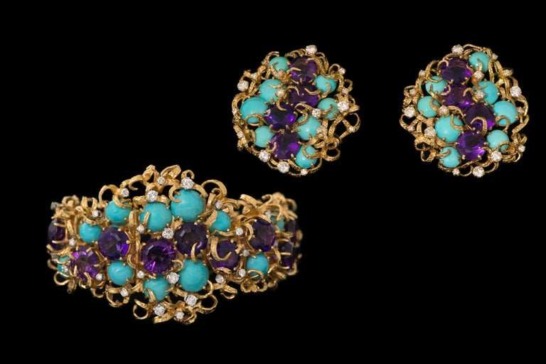 Faceted Amethyst, Cabochon Turquoise, Diamond and Gold Earrings In Excellent Condition For Sale In New York, NY