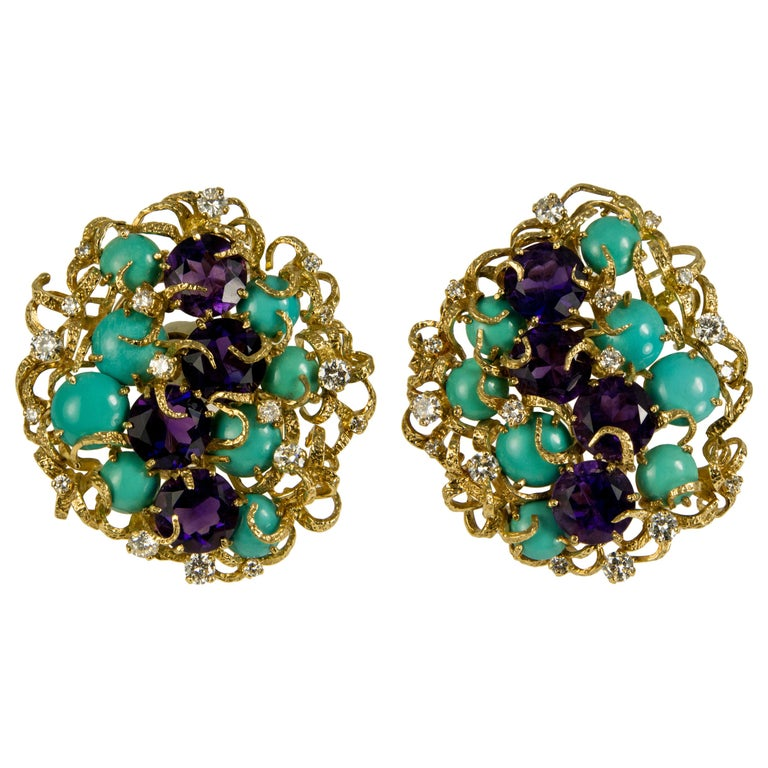 Faceted Amethyst, Cabochon Turquoise, Diamond and Gold Earrings For Sale