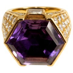 Faceted Amethyst, Diamond and Gold Cocktail Ring, circa 1990