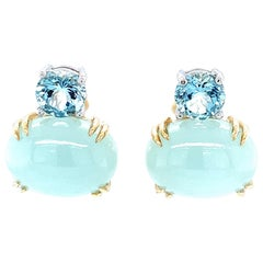 Faceted and Cabochon Aquamarine, Yellow, White Gold Post Drop Earrings