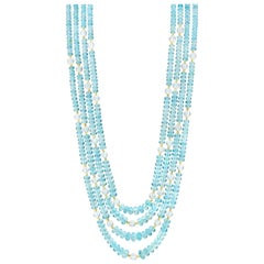 4-Strand Faceted Aquamarine Bead and Moonstone Bead Necklace w/ 22k Gold Spacers