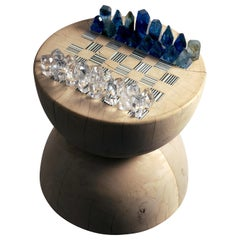 Faceted Art Glass Chess and Wood Lathed Table