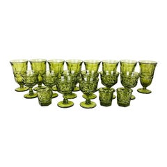 Faceted Avocado Green Kings Crown Indiana Thumbprint Stem Glasses, Set of 19